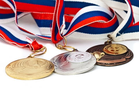 Sports Medal of the Russian Federation. Isolated on white background